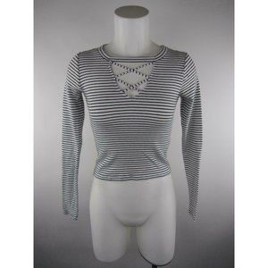 Hollister Cotton Elastane Striped Ribbed Crop Top